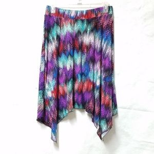 Soft Stretchy Colorful Purple Blue High-Low Skirt